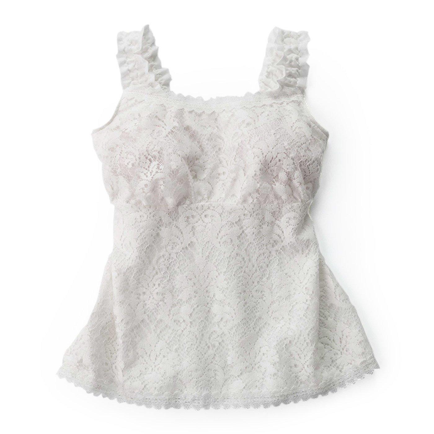 ぜいたくレース遣いなお洋服仕立てブラキャミソール〈ホワイト〉