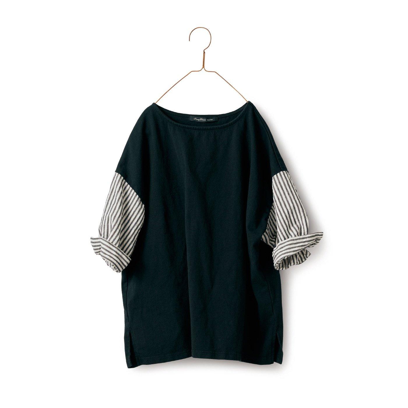サニークラウズ ベスシャツ〈レディース〉黒×ストライプ