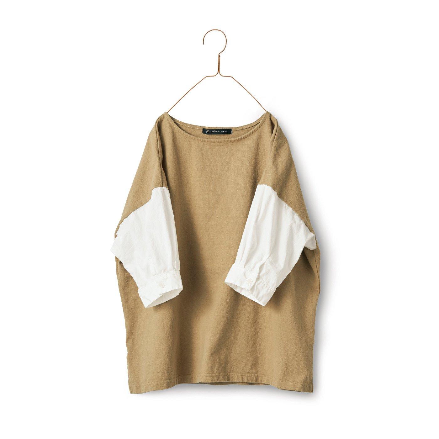 サニークラウズ ベスシャツ〈レディース〉ベージュ×白