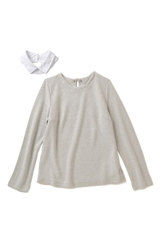 取り外せる衿付きでコーデの幅が広がります。衿はクロスコーデしやすい上品なカラーリングにこだわりました。