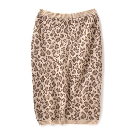 ミルブロウズ 上品レオパード柄が大人かわいいモヘア混ニットスカート(ベージュ)