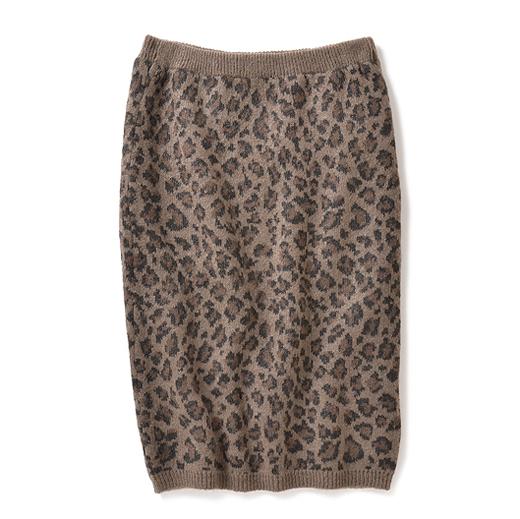 ミルブロウズ 上品レオパード柄が大人かわいいモヘア混ニットスカート(ブラウン)