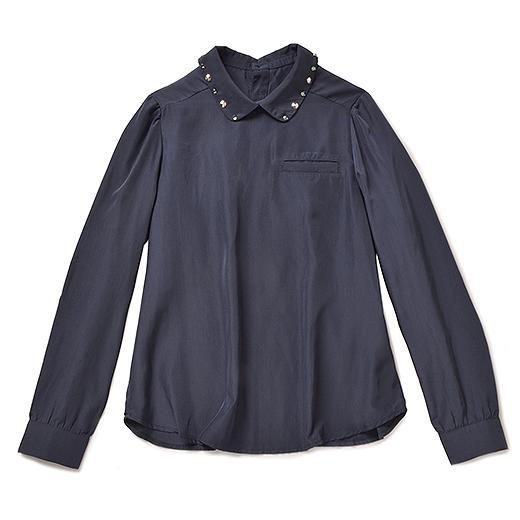 ブルー ブラック プラネット 顔まわりキラッと輝くビジュー付きシャツ(ネイビー)