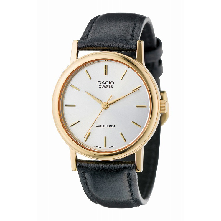IEDIT[イディット] SELECT CASIO 腕時計レザー ラウンド ミドルサイズ MTP-1095Q-7A〈ブラック×ホワイト〉