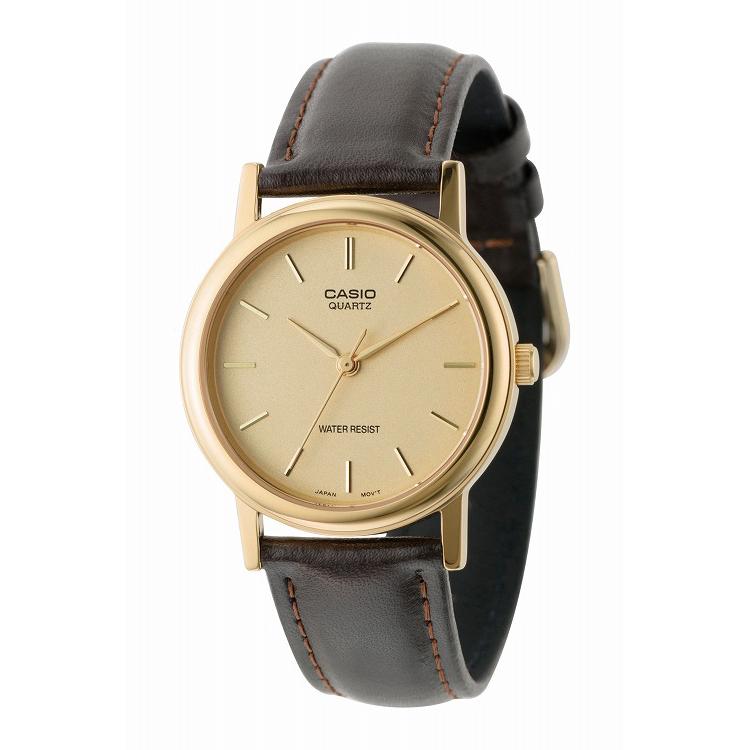 IEDIT[イディット] SELECT CASIO 腕時計レザー ラウンド ミドルサイズ MTP-1095Q-9A〈ブラウン×ゴールド〉