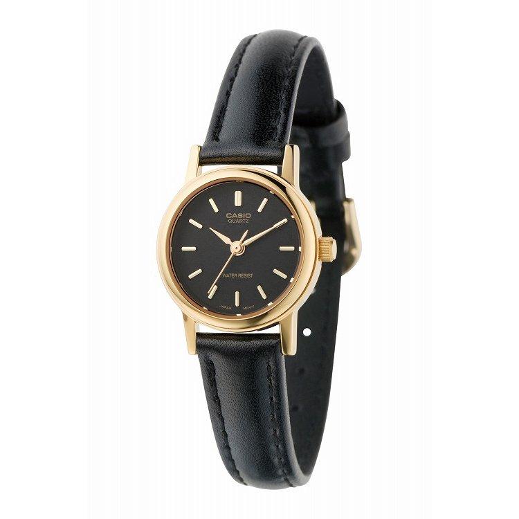 IEDIT[イディット] SELECT CASIO 腕時計レザー ラウンド スモールサイズ LTP-1095Q-1A〈ブラック×ブラック〉