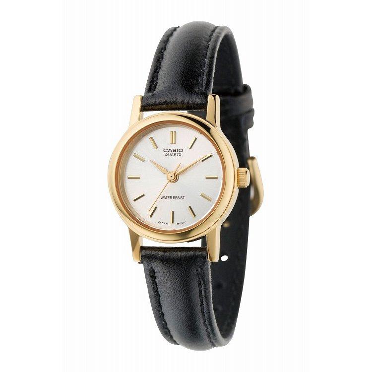 IEDIT[イディット] SELECT CASIO 腕時計レザー ラウンド スモールサイズ LTP-1095Q-7A〈ブラック×ホワイト〉