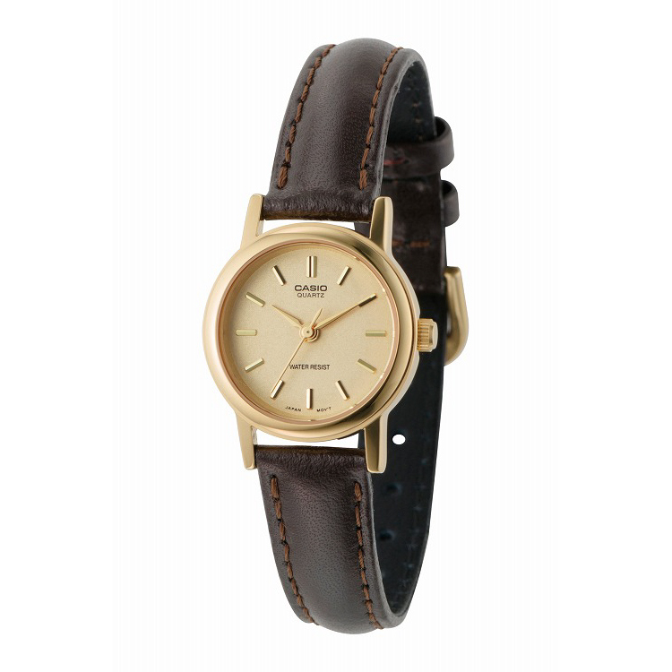 IEDIT[イディット] SELECT CASIO 腕時計レザー ラウンド スモールサイズ LTP-1095Q-9A〈ブラウン×ゴールド〉