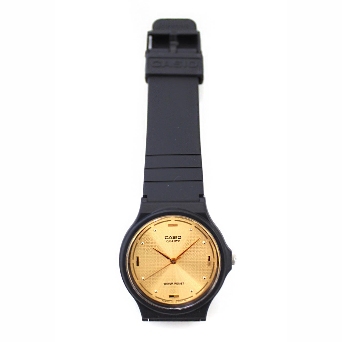 フェリシモ IEDIT[イディット] SELECT CASIO アナログ腕時計 ラウンド MQ-76-9A〈ブラックxゴールド〉