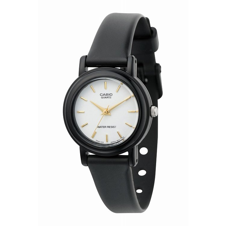 IEDIT[イディット] SELECT CASIO アナログ腕時計 ラウンド LQ-139E-7A〈ブラック×ホワイト〉