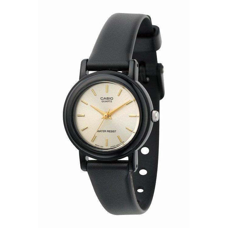 IEDIT[イディット] SELECT CASIO アナログ腕時計 ラウンド LQ-139E-9A〈ブラック×ゴールド〉