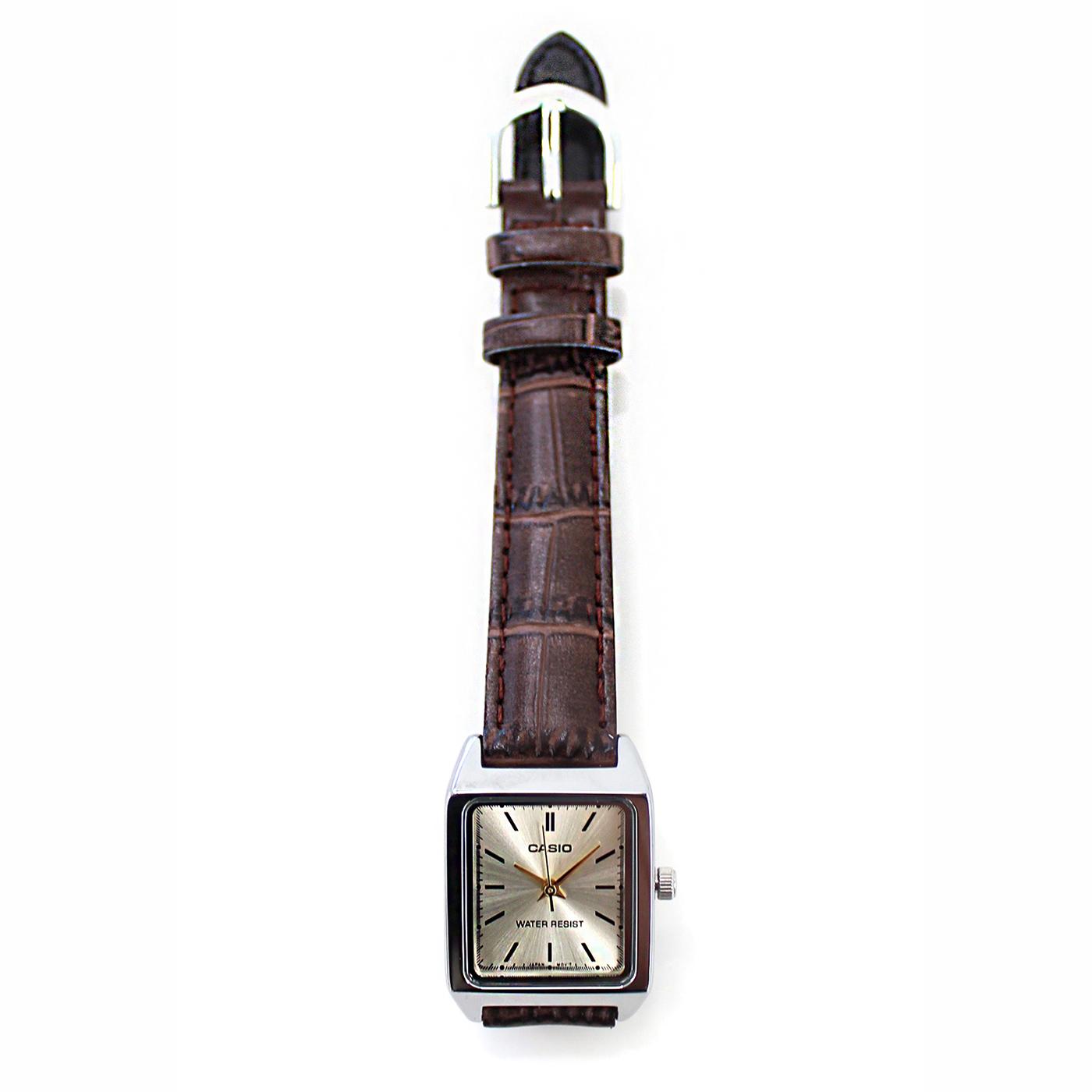 IEDIT[イディット] SELECT CASIO 腕時計レザー スクエアLTP-V007L-9E〈ブラウン〉