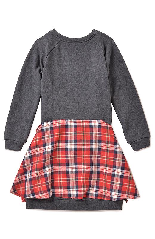 BACK 後ろのウエスト部分にシャツ風のチェック生地をドッキング。前でぎゅっと結ぶだけで、シャツ巻きコーデのような着こなしが楽しめます。