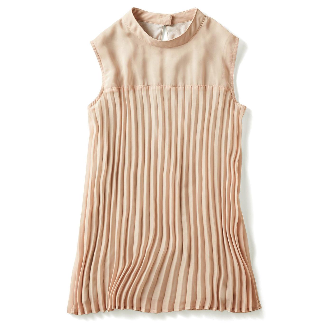 ミルブロウズ カットソー裏地付きで Tシャツ感覚で着られる ノースリーブプリーツブラウス〈ベージュ〉