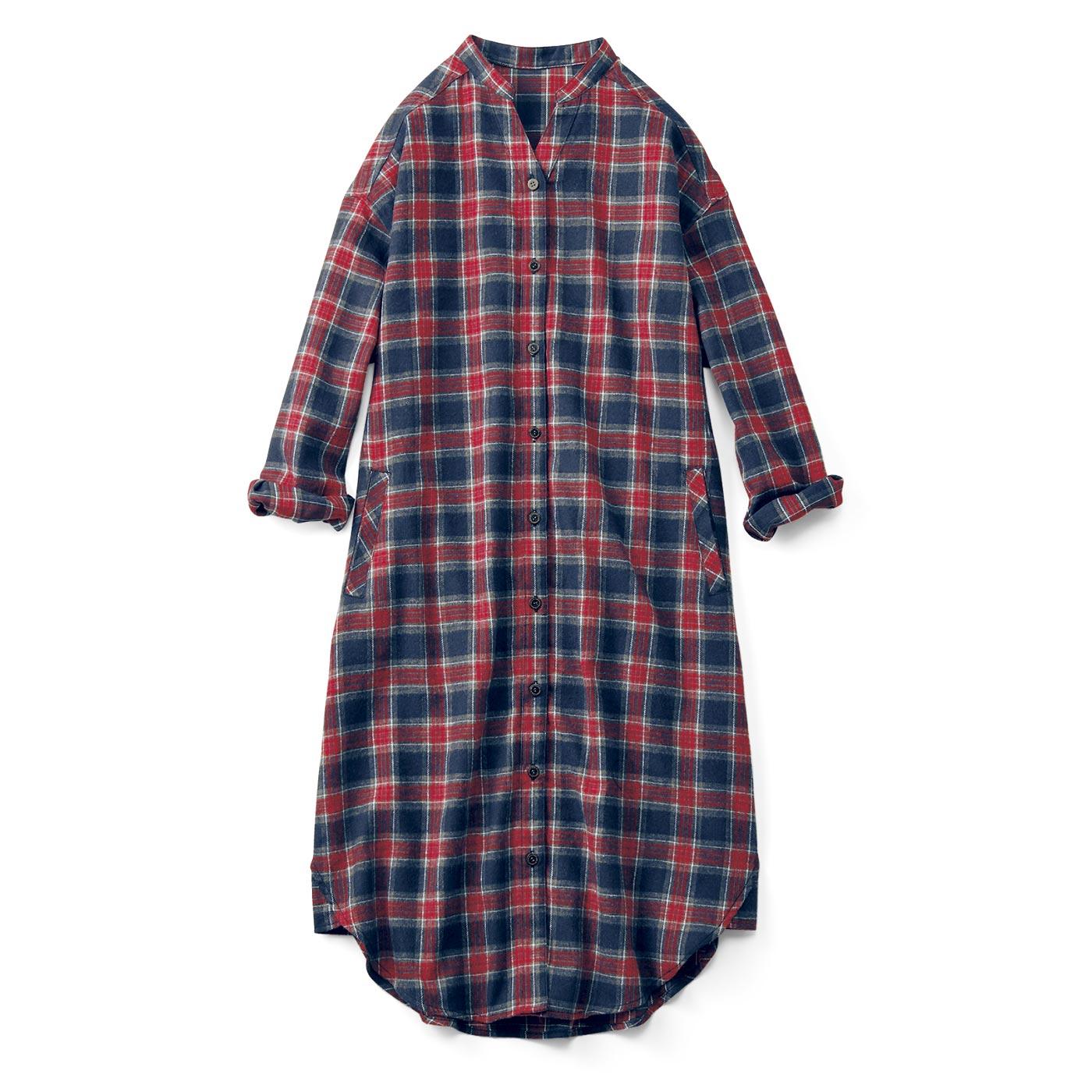 フェリシモ リブ イン コンフォート スタンドカラーで小顔見えするネルチェックシャツワンピース〈ネイビーxレッド〉