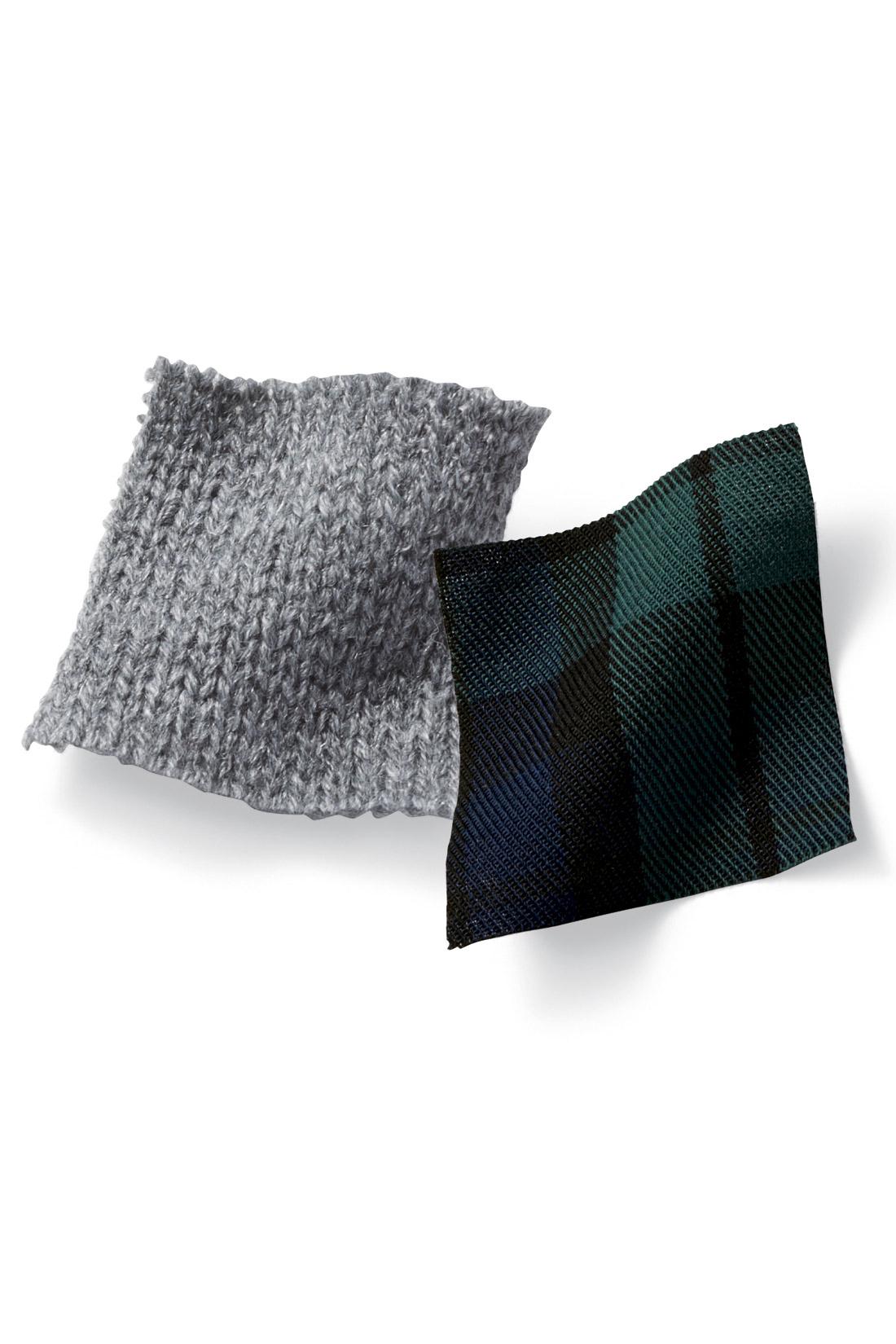 薄手のコットンシャツ部分は、ニットの色に合わせて大人っぽい柄をセレクト。 ※お届けするカラーとは異なります。