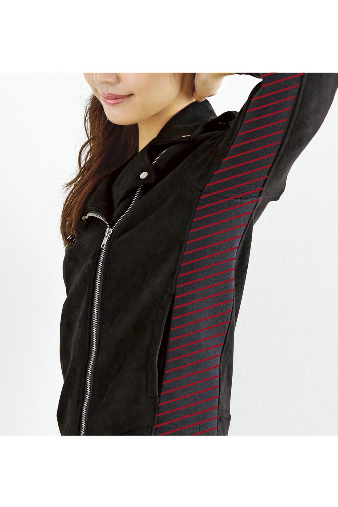 袖とわきのサイドリブでのびのび快適ノンストレス! 身ごろのわきと袖下をリブに切り替えているから、コンパクトめのシルエットながら窮屈感がなくらくちん!
