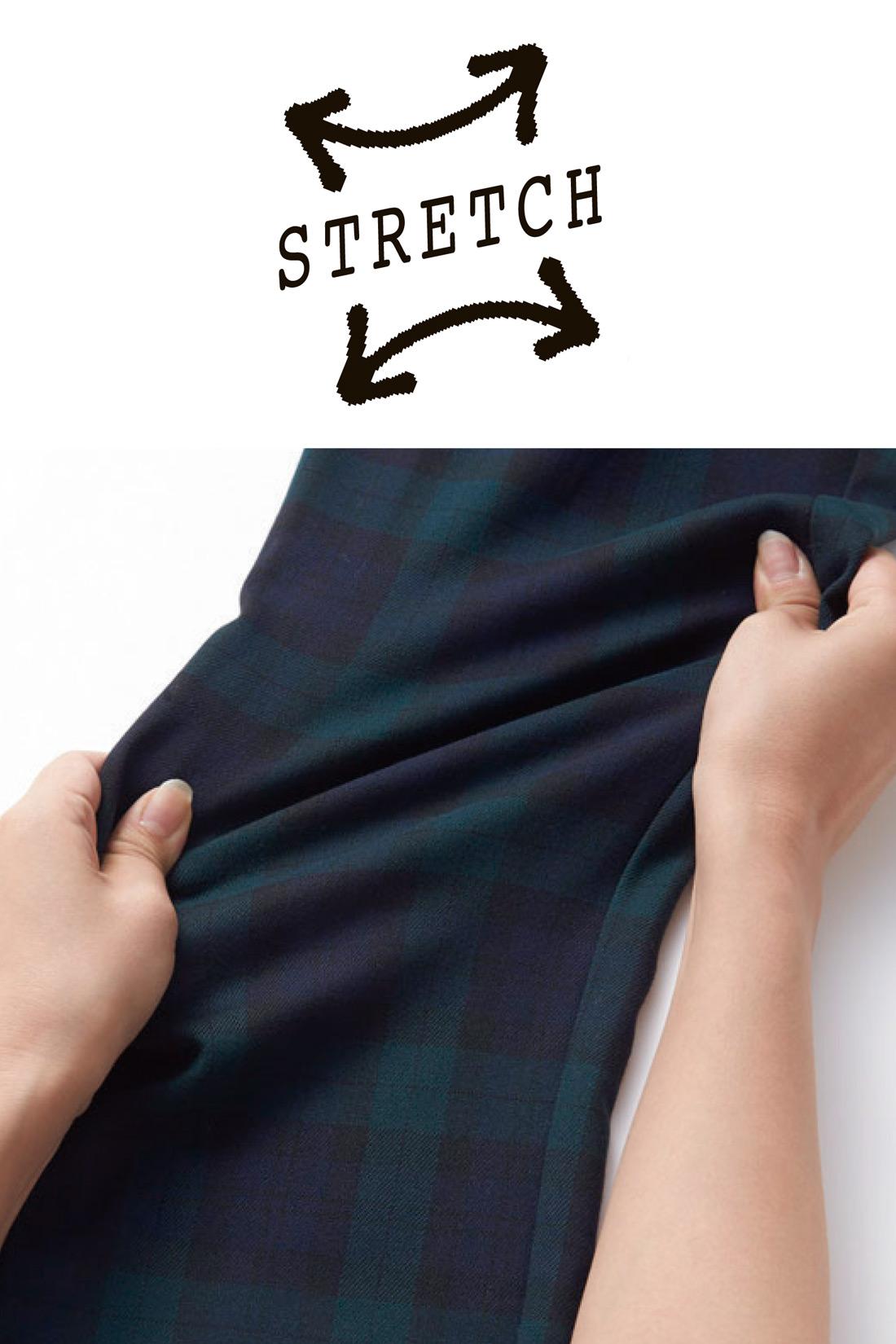 伸びやかストレッチ素材でアクティブに動けます。 ※お届けするカラーとは異なります。