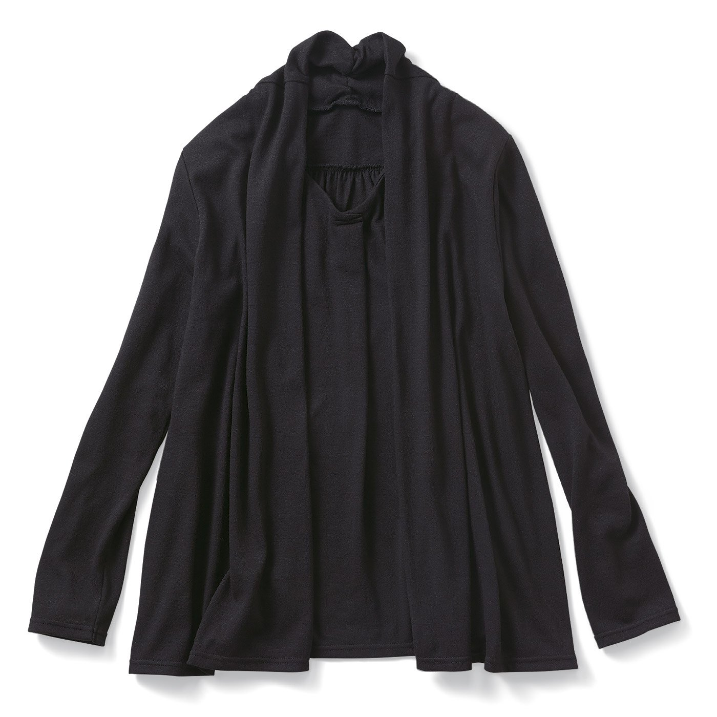 リブ イン コンフォート ふわり軽やか重ね着しているみたいなカディオーバートップス〈ブラック〉