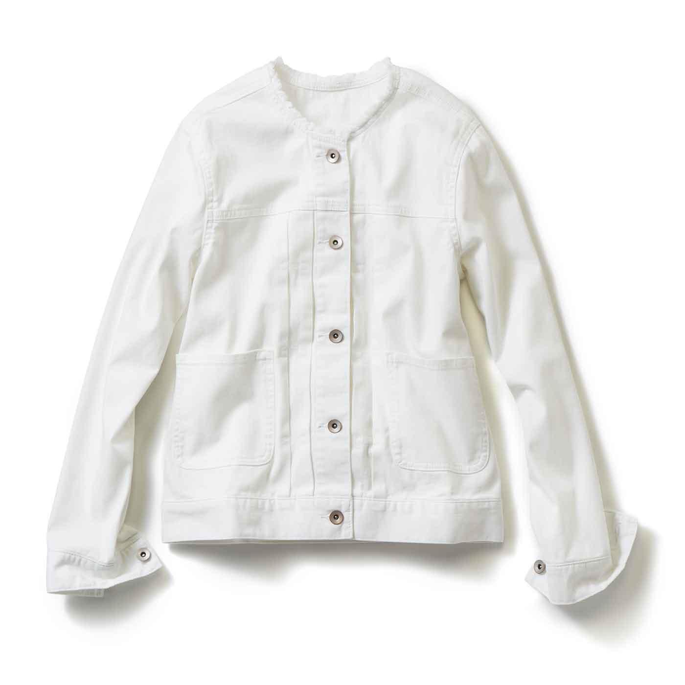 フェリシモ IEDIT[イディット]レーベルコレクション 美シルエットとノーカラーデザインが女性らしい衿フリンジデニムジャケット〈ホワイト〉