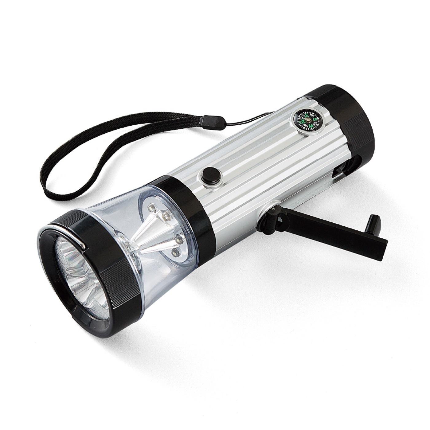 LEDダイナモライト1個 ■素材/ABS樹脂 電球:LED リチウム充電池:3.6V  80mAh ■サイズ/長さ約17.5cm、直径約6.2cm