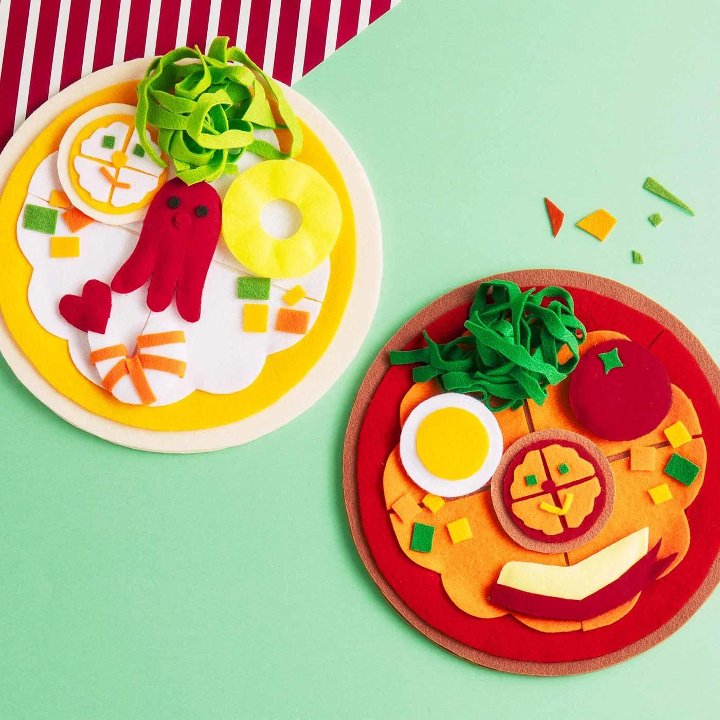 ピッツェリア・フクワライーノ ウミノサチーナとヤマノサチーノ フェルトピザの福笑いキット