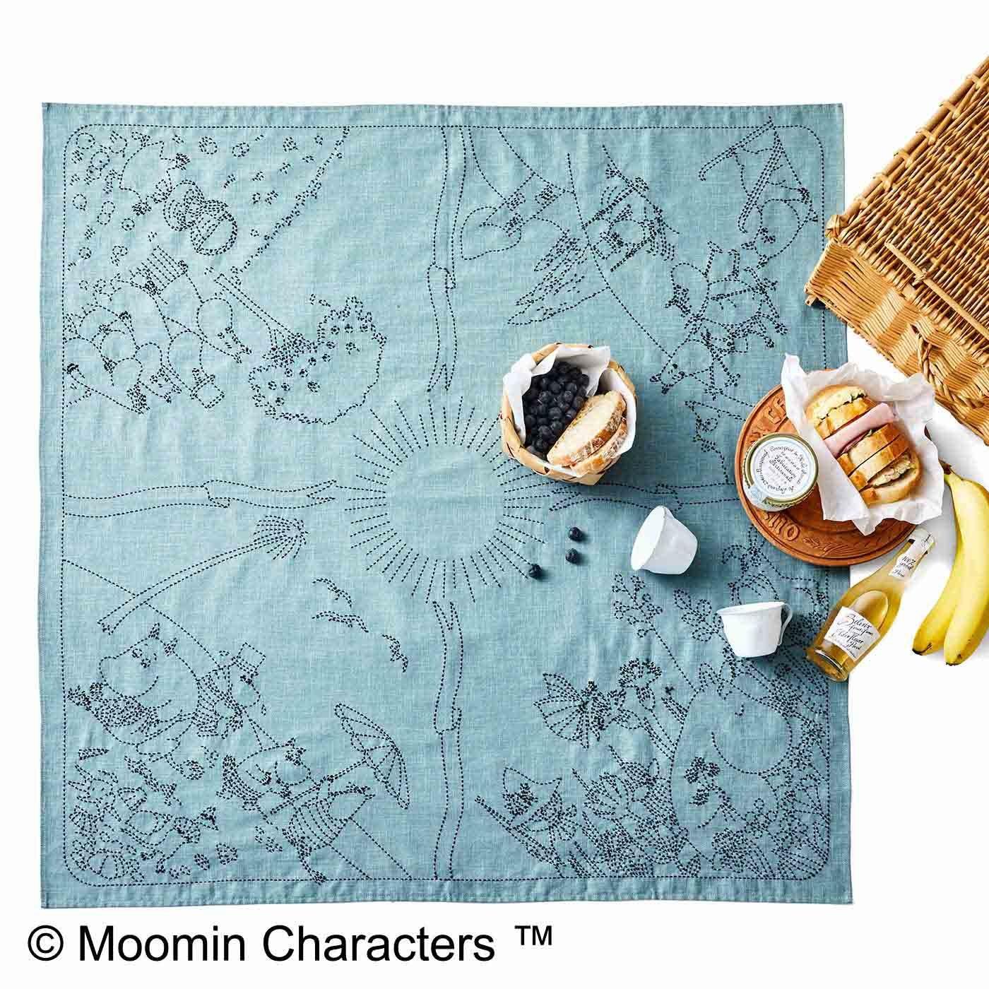 ムーミン谷の季節をめぐる ちくちく刺し子の大判風呂敷(空)