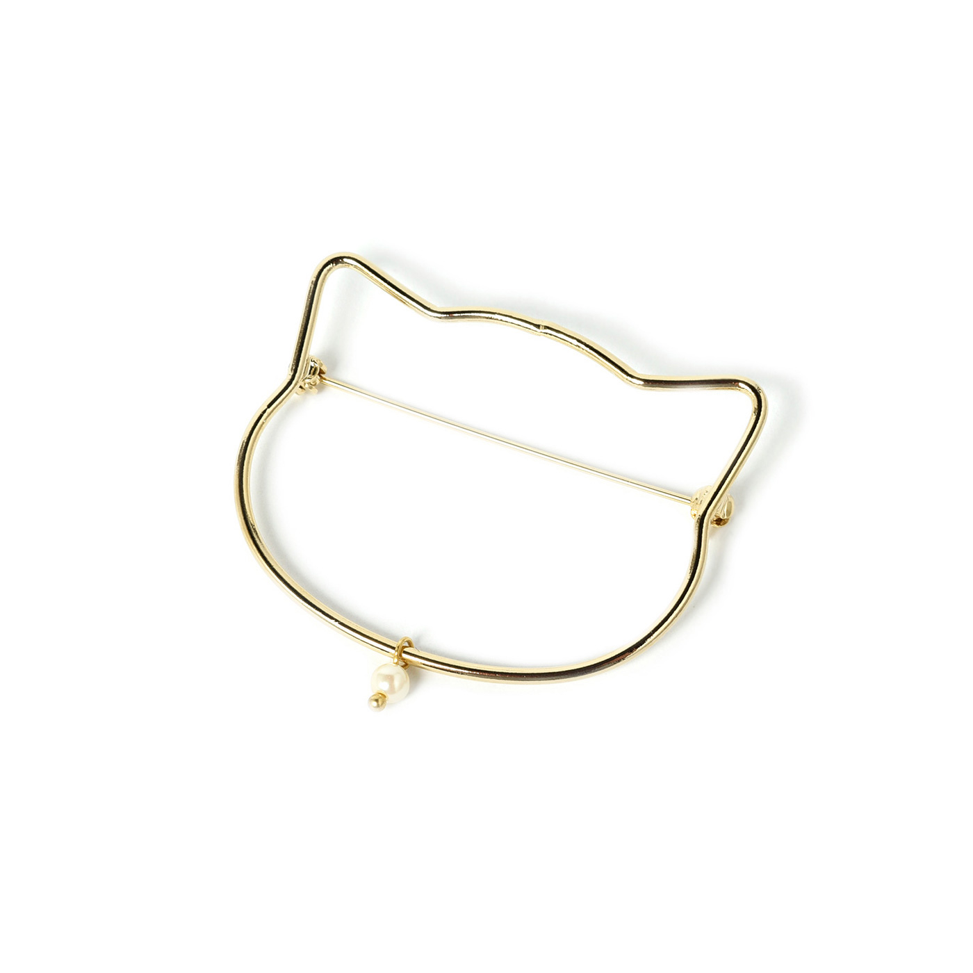 フェリシモ 猫顔シルエットが衿もとを飾るブローチ