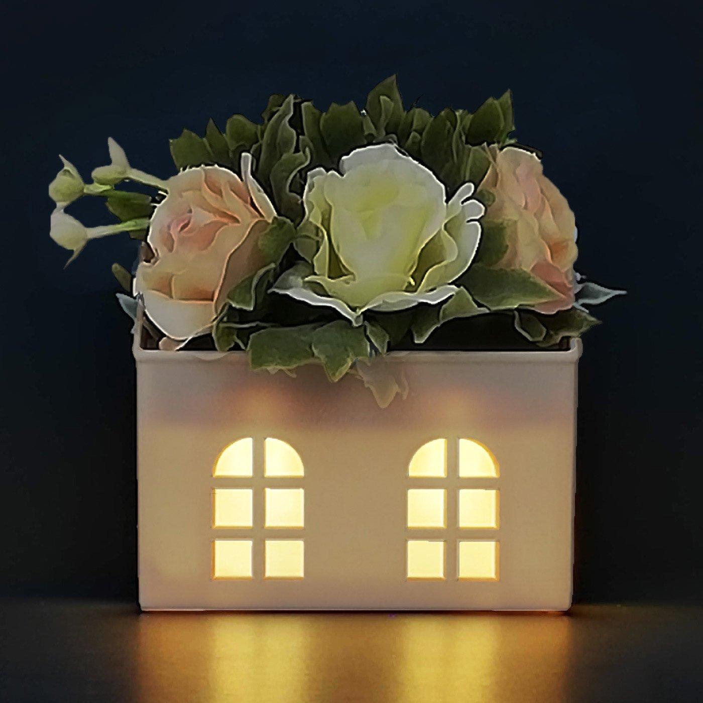 ロマンティックに灯る♪ 小さなおうちのフラワーアロマポット Hanaheya