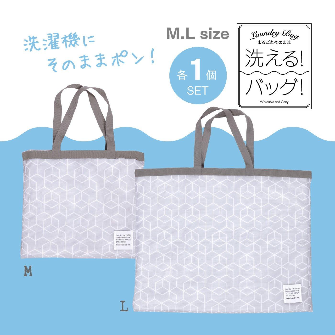 持ち運んでそのままお洗濯 洗えるランドリーバッグM・Lサイズ各1個セット