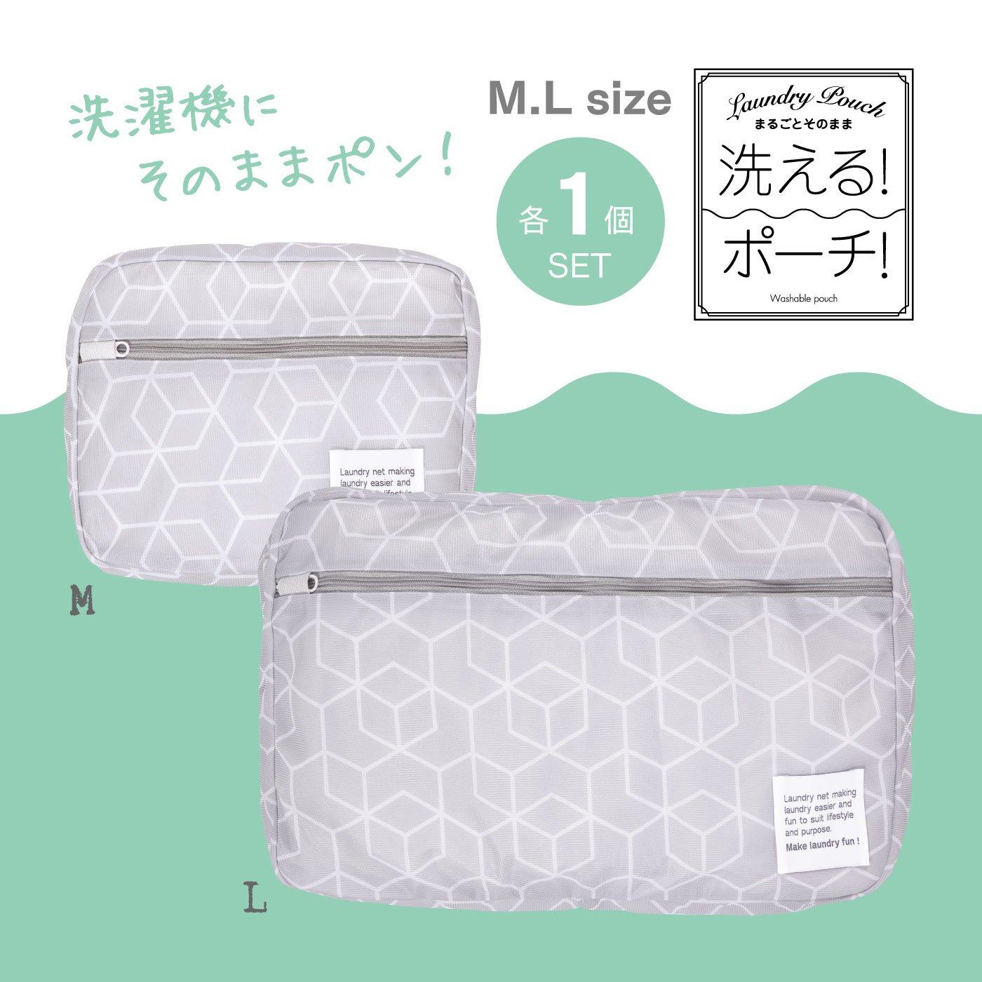 スーツケースにすっぽり収まる 洗えるランドリーポーチM・L各1個セット