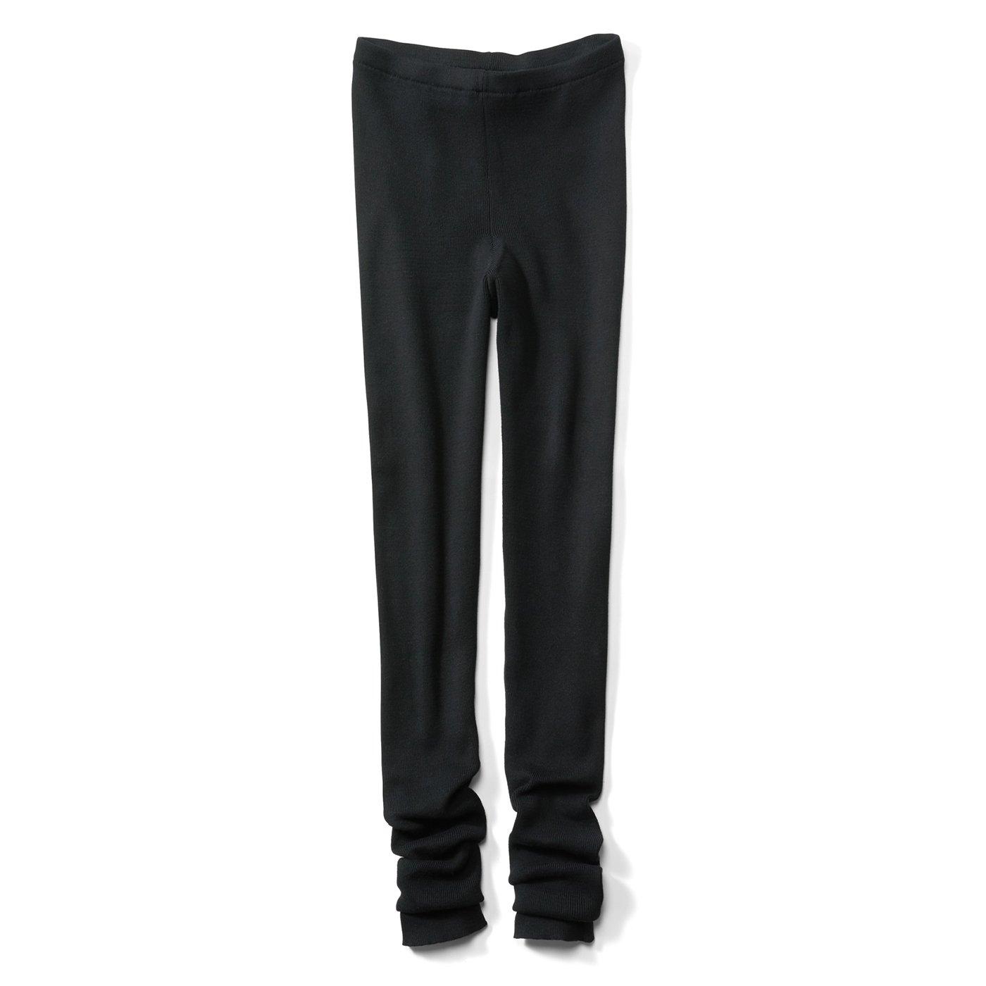 IEDIT[イディット] 綿100%素材のやさしく脚を包む 洗練ニットレギンス〈ブラック〉