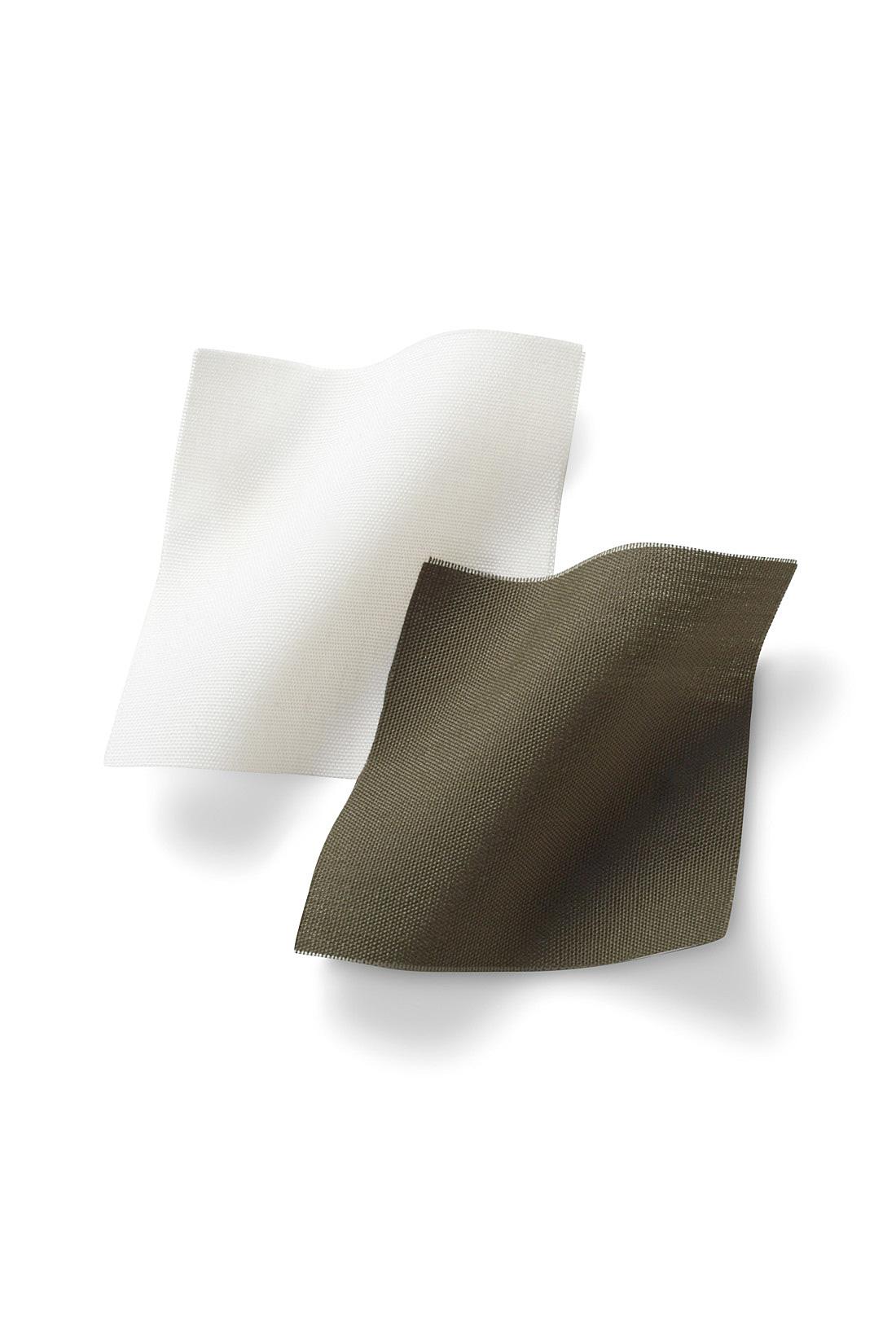 適度な張りのあるコットンライク 素材からだのラインを拾いにくいコットンライクな布はく素材がふんわりシルエットを演出。