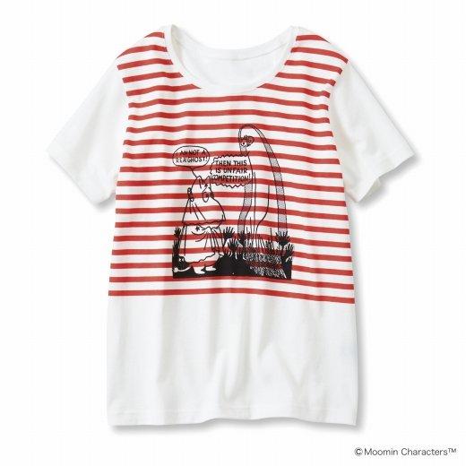 ムーミンと仲間たち ボーダープリント Tシャツ(レッドボーダー)