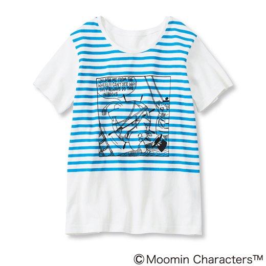 ムーミンと仲間たち ボーダープリント Tシャツ(ブルーボーダー)