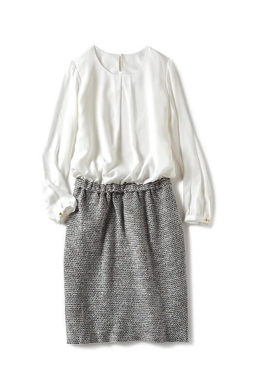 ブラウス+ニットツイードスカートの一枚仕立て。ブラウスのすそがはみ出る心配もありません。異素材遣いのメリハリ感で、着映え力抜群。コーデいらずで美人見えします。ウエストはゴム仕様でさりげなくカバー。