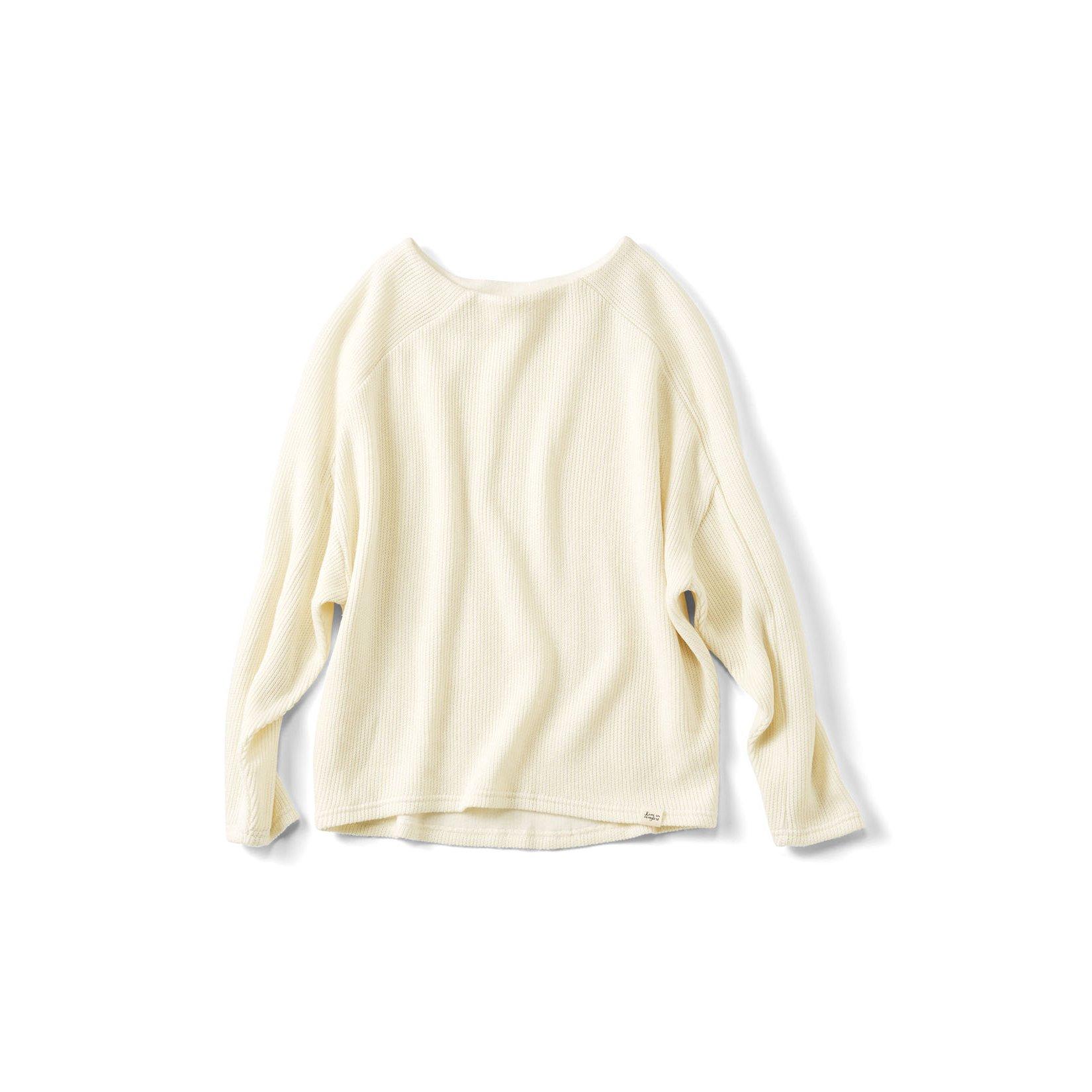 リブ イン コンフォート 裏綿カットソーのやさしい肌ざわり 一枚でオシャレ見えするドルマントップス〈アイボリー〉