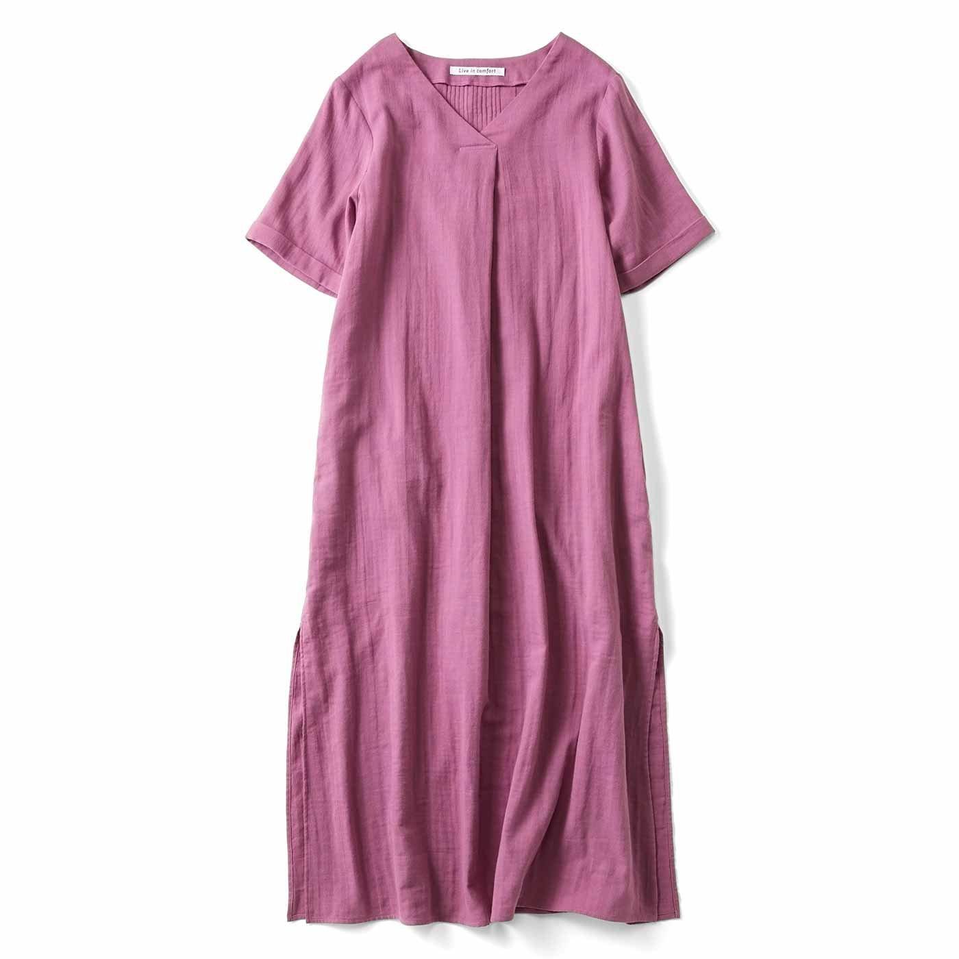 リブ イン コンフォート はまじとコラボ 着るほどにやわらかなダブルガーゼロングチュニック〈ピンク〉