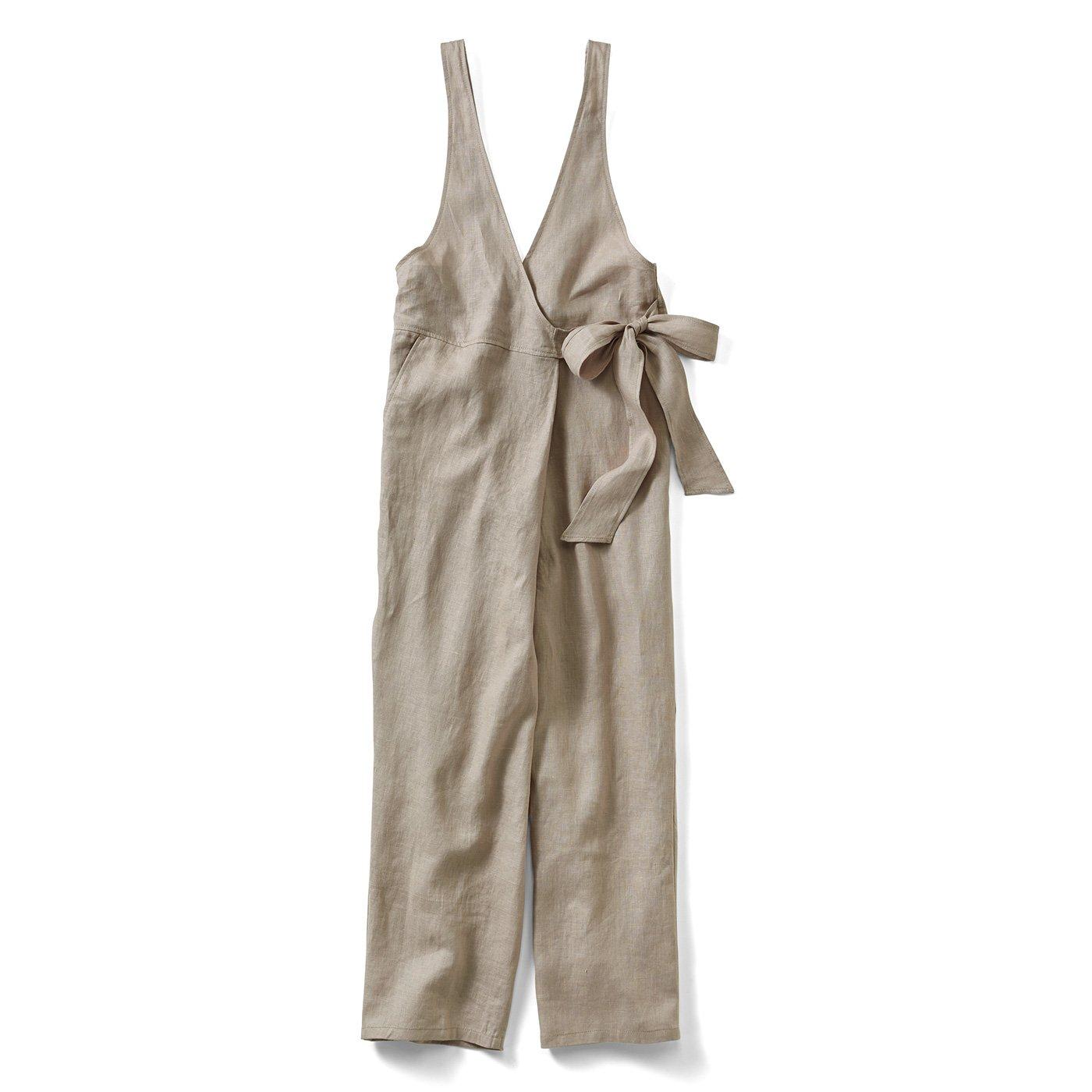 リブ イン コンフォート サラリときれいめに着られる 麻混カシュクールサロペット〈ライトグレージュ〉