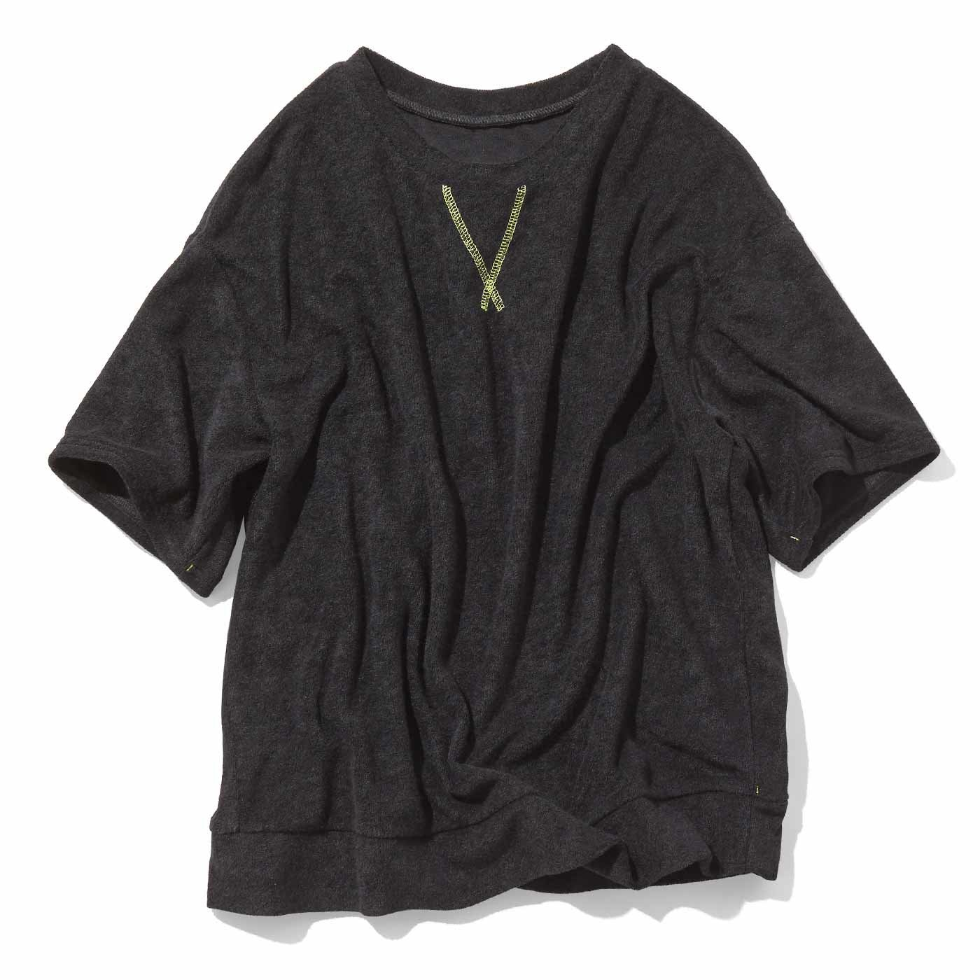 ふんわりパイルTシャツ〈ブラック〉