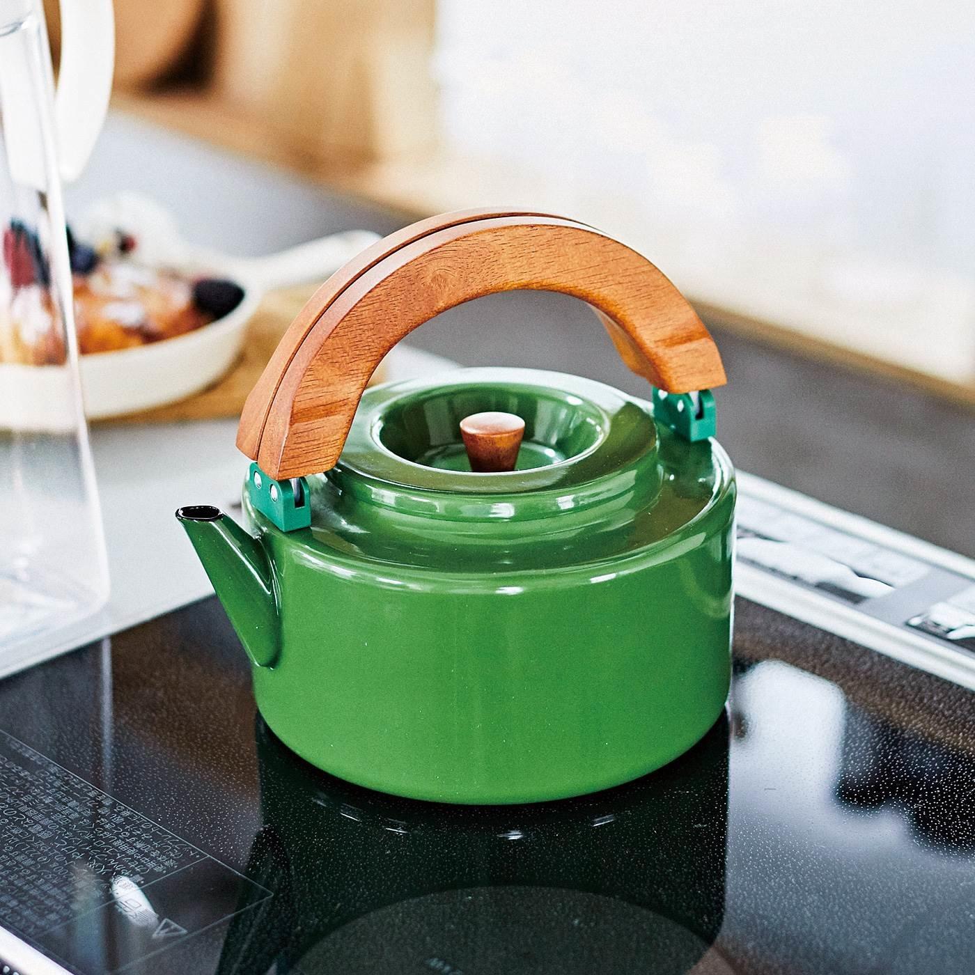 冷蔵庫にそのまま入る 彩り華やか北欧風フラットケトル〈グリーン〉