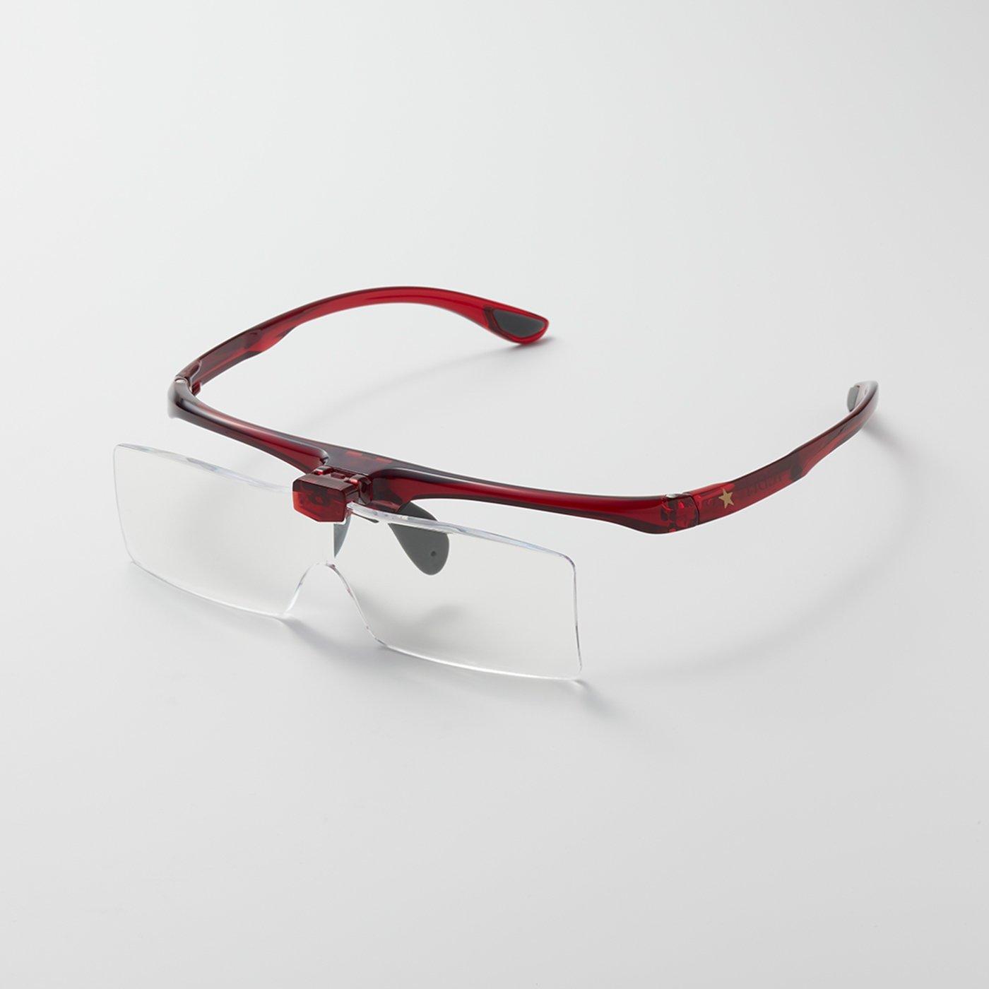 IEDIT[イディット] ワガママ企画 ゴールドスターがポイント! メガネの上からかけられて手もとがよく見えるメガネ型拡大ルーペ〈ルビーレッド〉