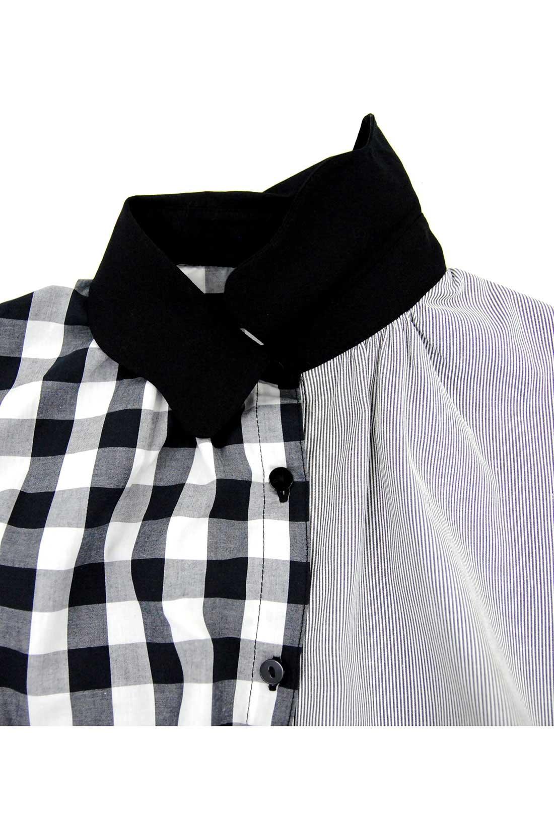 フロントの衿の下もギャザーが入っていて、かわいいラインを作ります。