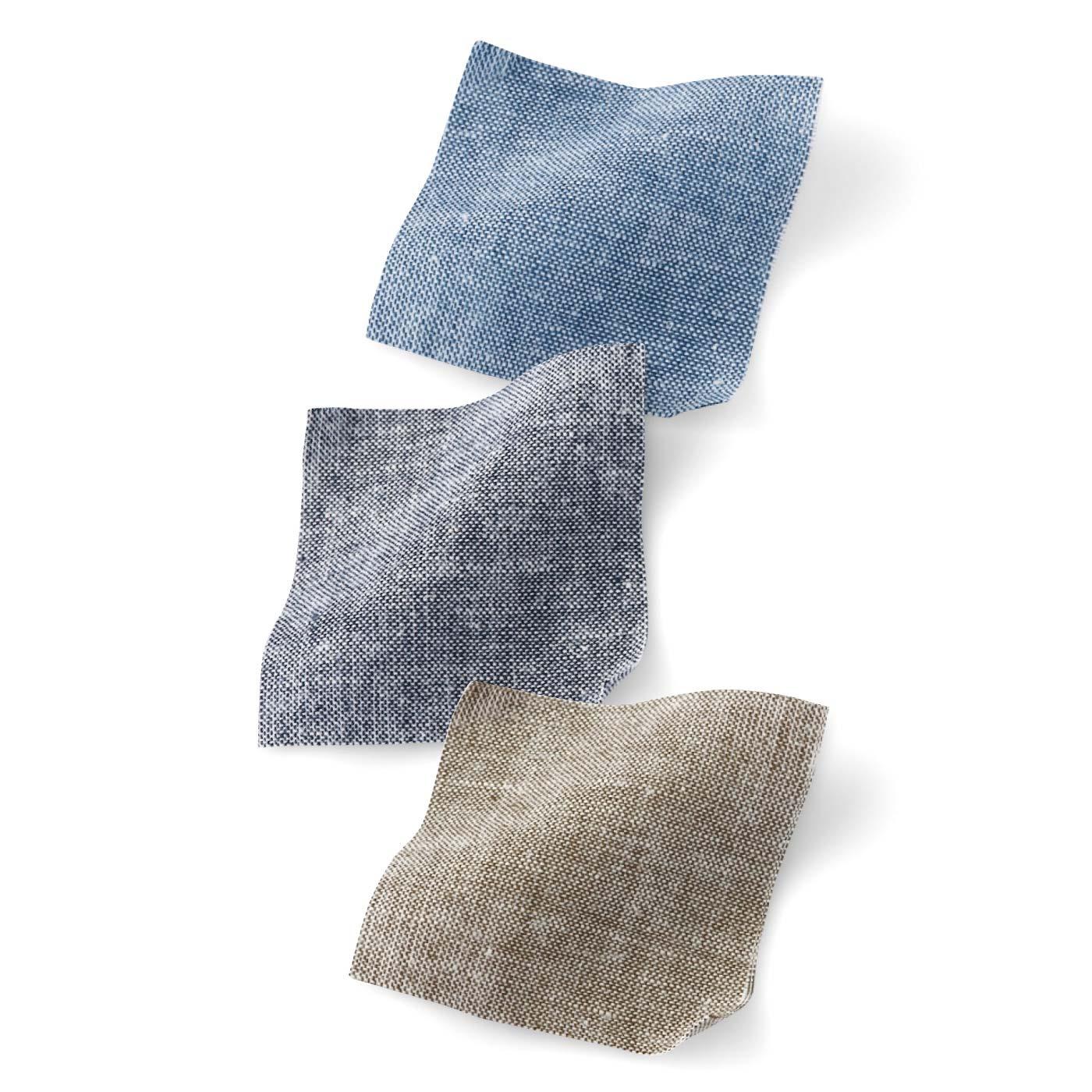 [さらりとした綿麻ダンガリー]適度な張り感でからだの線をひろいにくく、大人な印象。天然素材で肌ざわり抜群です。