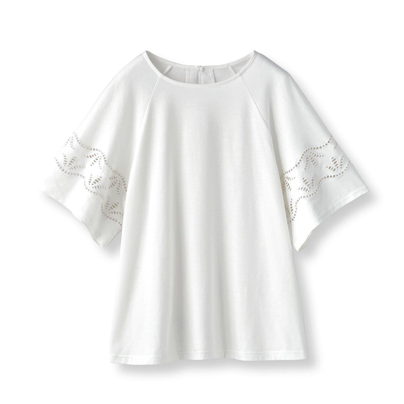フラウグラット ひらりんカットワークレースのきれい見えTシャツ〈吸水速乾〉〈ホワイト〉