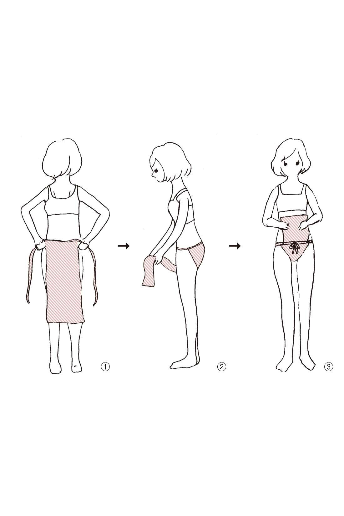 1: 腰の後ろからおなかにひもをまわし結ぶ。2 : またの間から後ろの布を前に持ってくる。3 : 前で結んだひもにくぐらせ、キュッと整えてできあがり。