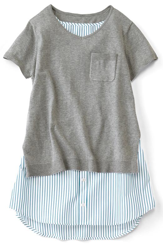 ニットと布はくは肩部分でドッキング。自然な重なり具合できれいなシルエット。