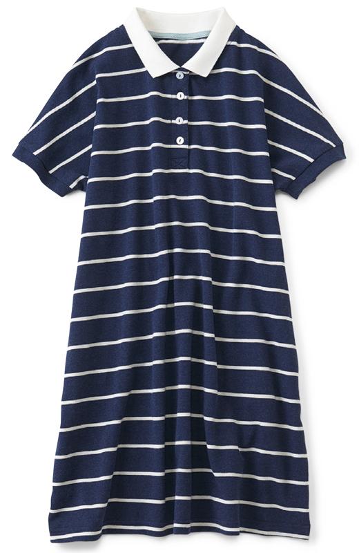 衿とボタンの白でさわやかさアップ。両サイドにポケット付き。おしりをすっぽりカバーする丈とゆるプカシルエットは体形カバー力大!