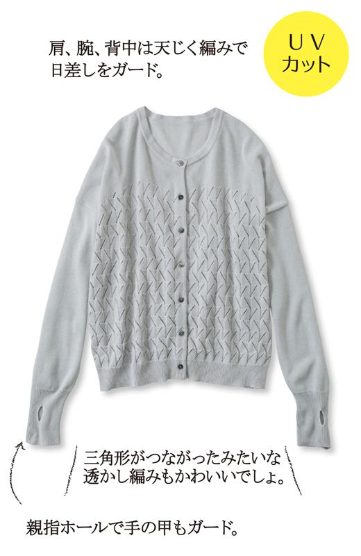 肩、腕、背中は天じく編みで日差しをガード。三角形がつながったみたいな透かし編みもかわいいでしょ。