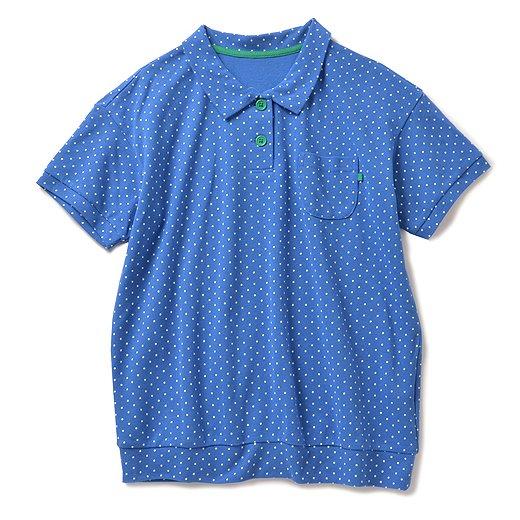 みんな大好きドットをちりばめた かのこポロシャツ(ブルー)
